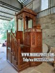 Mimbar Masjid Jati Ukiran Kaligrafi Bagus