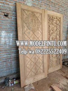 Model Pintu Masjid Jati Minimalis Ukiran Kaligrafi