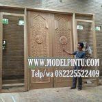 Model Pintu Kusen Masjid Kayu Jati Ukiran Minimalis Arabic