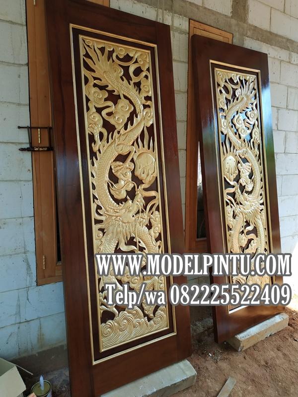 Model Pintu Rumah Mewah Jati Ukiran Relief Naga