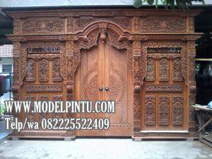 Model Pintu Utama Gebyok Jati Ukiran Mewah Jepara Klasik