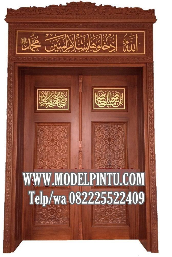 Pintu Kusen Masjid Kayu Jati Ukiran Kaligrafi Jepara