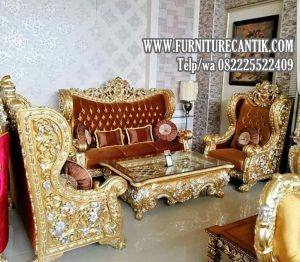Model Sofa Tamu Ukiran Mewah Cat Duco