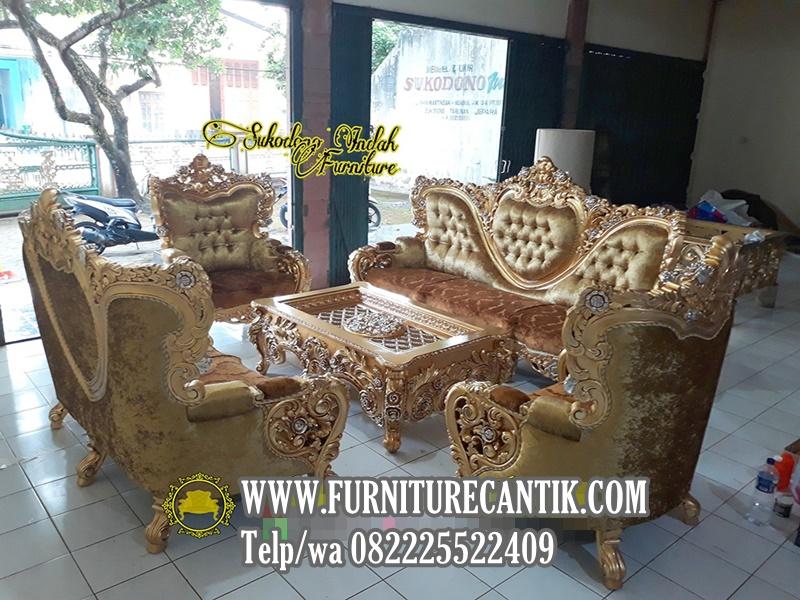 Model Sofa Tamu Ukiran Mewah Klasik Gold