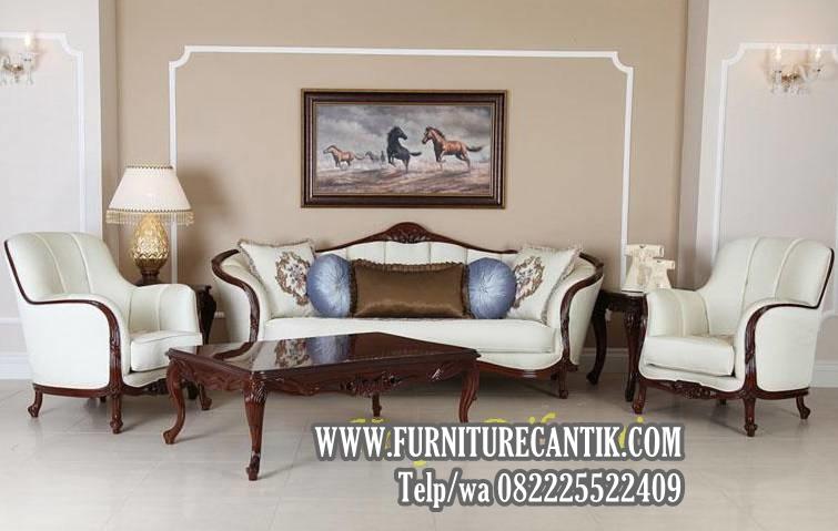 Model Sofa Tamu Ukiran Mewah Klasik Glossy