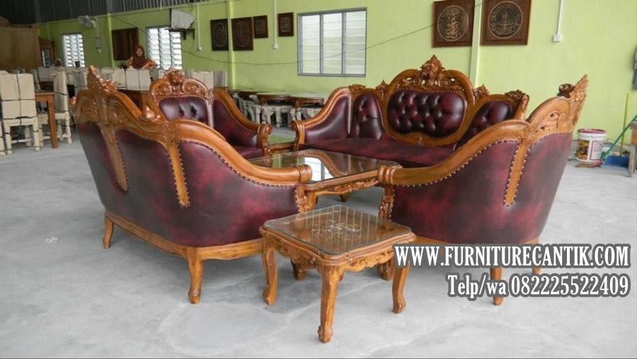 Sofa Tamu Ganesha jati ukiran Mawar