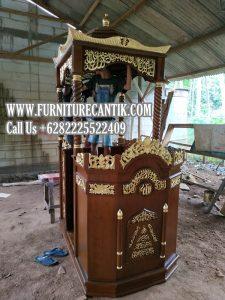 Model Mimbar Masjid Jati Ukiran Orang Jepara