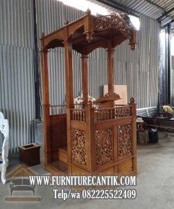 Model Mimbar Khutbah Masjid Kayu Jati Ukiran