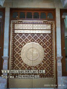 Model Pintu Masjid Kayu Jati Variasi Kuningan